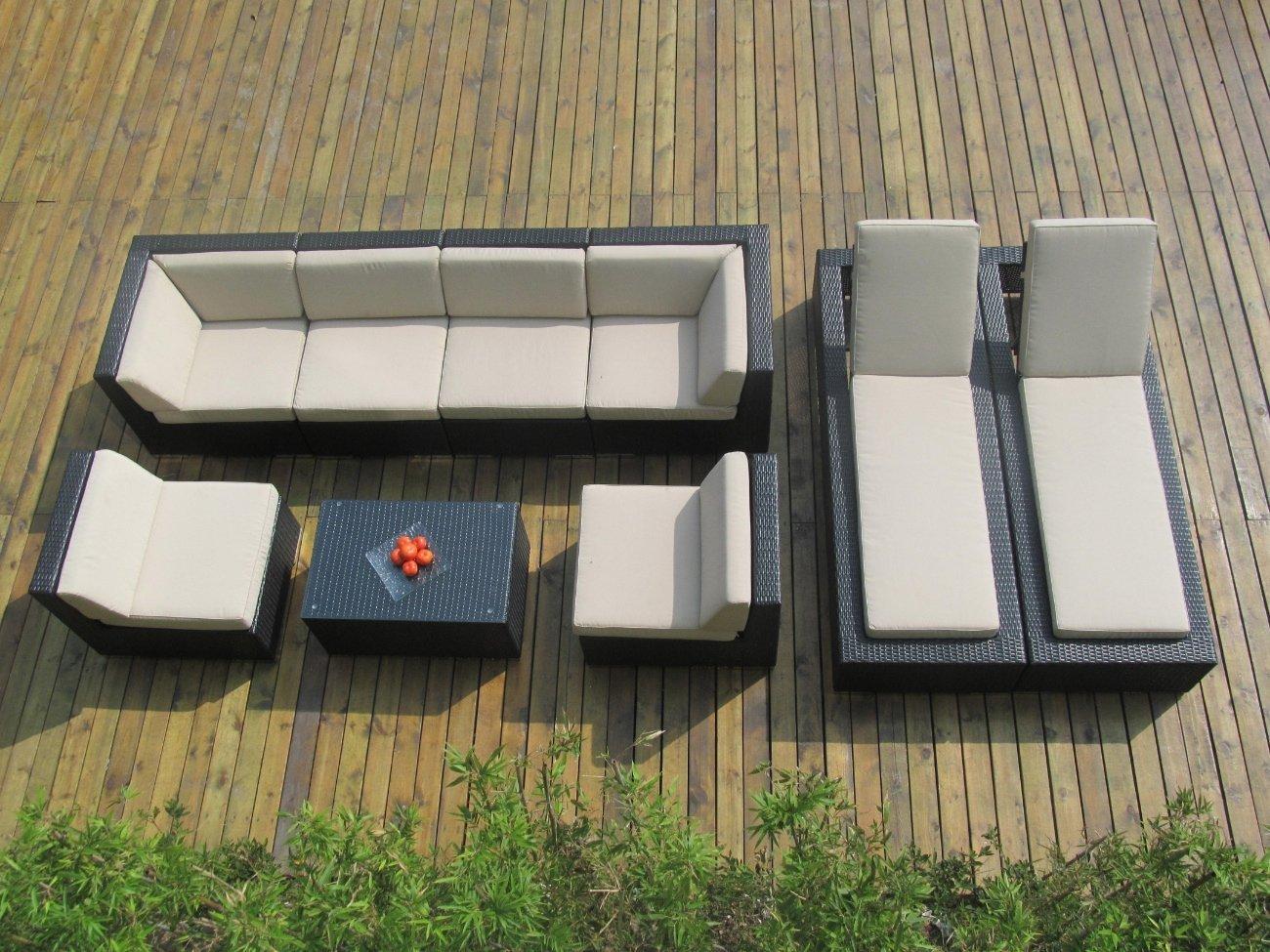 Genuine ohana outdoor sectional sofa and chaise lounge 9pc for Ohana outdoor sectional sofa