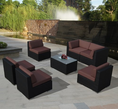 Genuine Ohana Outdoor Patio Sofa Sectional Wicker Furniture 7pc Couch Set With Free Brown Cover