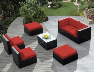 Genuine Ohana Outdoor Patio Wicker Furniture 7pc Red