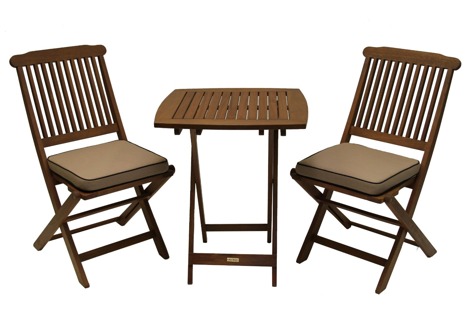 Outdoor eucalyptus 3 piece square bistro outdoor furniture for Patio furniture table set