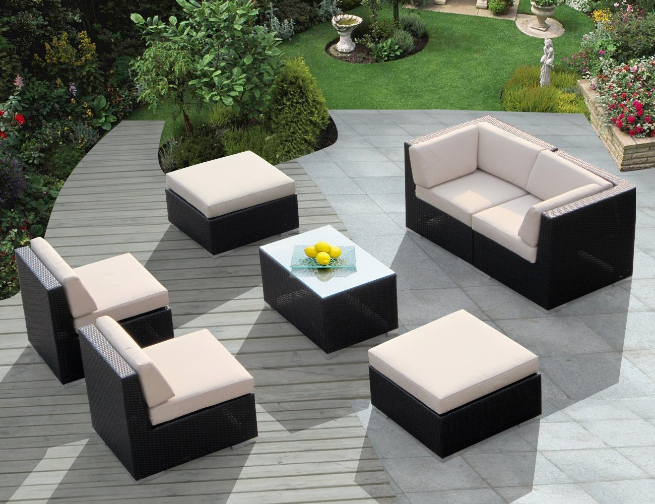 Genuine 7 Piece Ohana Patio Furniture Wicker Couch Set With Beige Cushion