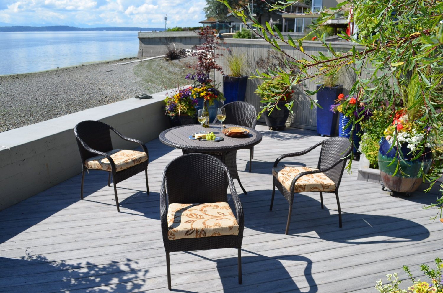 san marcos 5 piece all weather wicker patio dining set