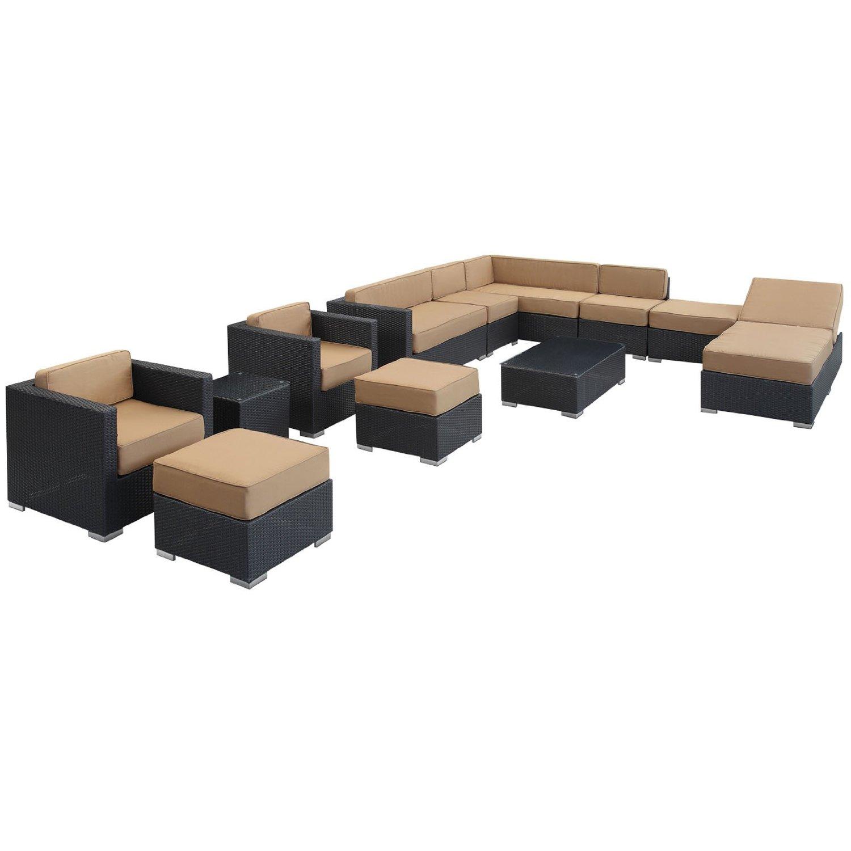 LexMod Fusion 12 Piece Outdoor Rattan Patio Furniture Set