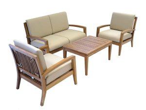 Ohana Teak Patio Furniture 4-Seater Conversation Set with Cushions (4-Seater)