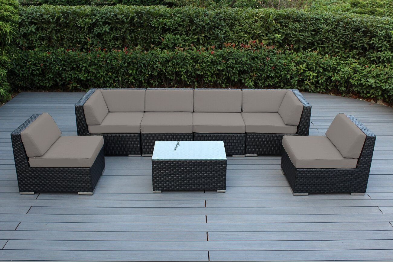 Genuine 16 piece ohana wicker patio furniture set outdoor for Outdoor patio couch set