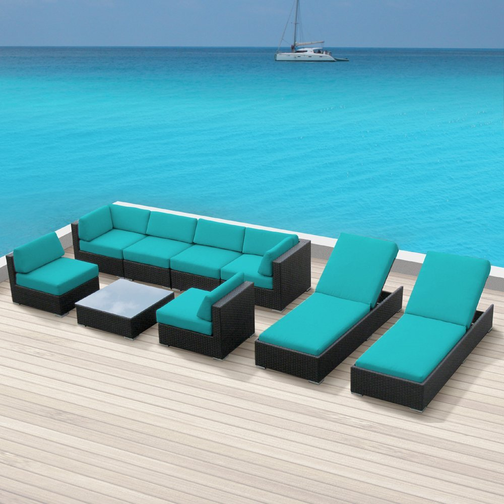 Luxxella Wicker Bella  Pc Sofa Sectional Outdoor Patio Furniture - Turquoise outdoor furniture