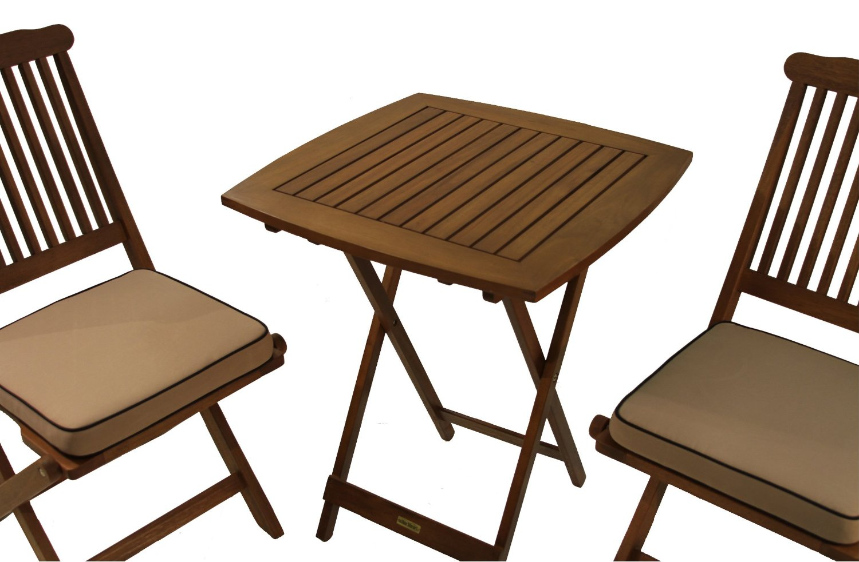Outdoor eucalyptus 3 piece square bistro outdoor furniture for Outdoor furniture 3 piece
