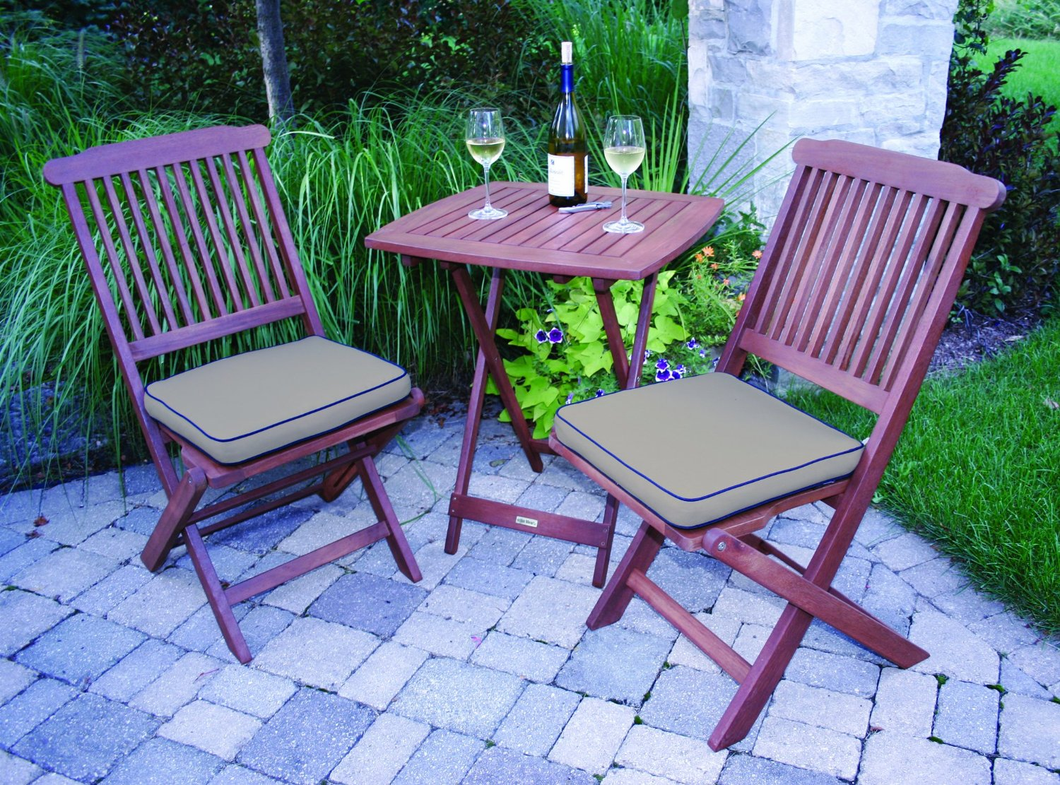 Outdoor eucalyptus 3 piece square bistro outdoor furniture for Outdoor furniture online
