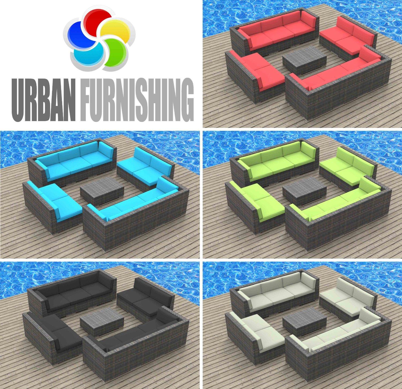 Urban Furnishing Bermuda 11pc Modern Wicker Rattan Patio Furniture Set Beige