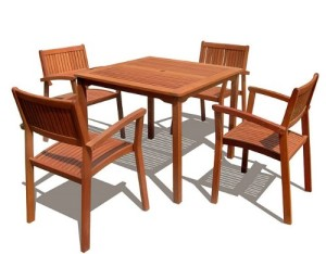 VIFAH V1104Set1 Outdoor Wood 5-Piece Dining Set