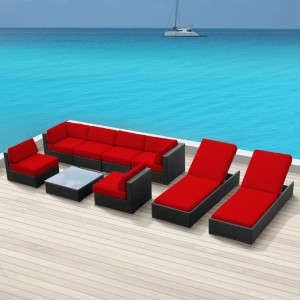 Luxxella Wicker Bella 9 Pc Sofa Sectional Outdoor Patio Furniture Set