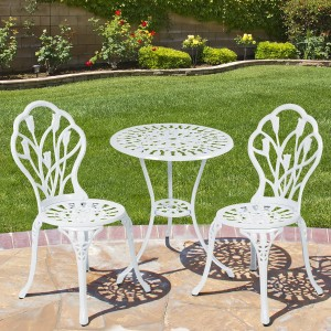 Best Choice Products® Outdoor Patio Furniture Tulip Design Cast Aluminum Bistro Set in White