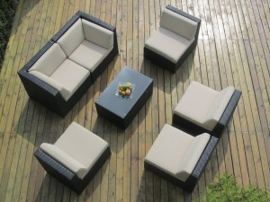 Genuine Ohana Outdoor Sectional Sofa and Chaise Lounge 9Pc Patio Furniture Set