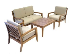 Ohana Teak Patio Furniture 4-Seater Conversation Set with Cushions (4-Seater)
