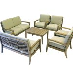 Ohana Teak Patio Furniture 6-Seater Conversation Set with Cushions (7-Seater)