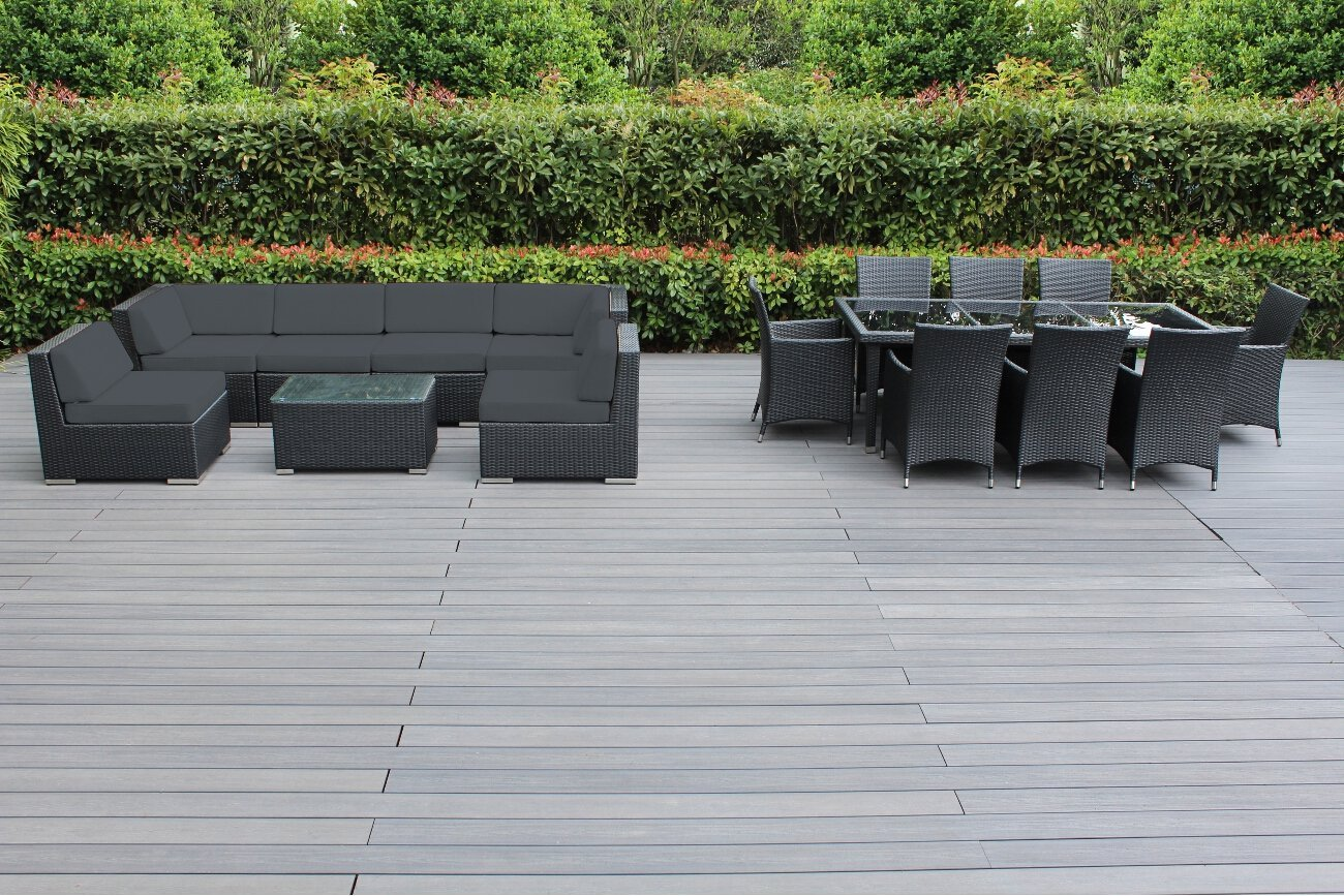 Genuine 16 Piece Ohana Wicker Patio Furniture Set Outdoor