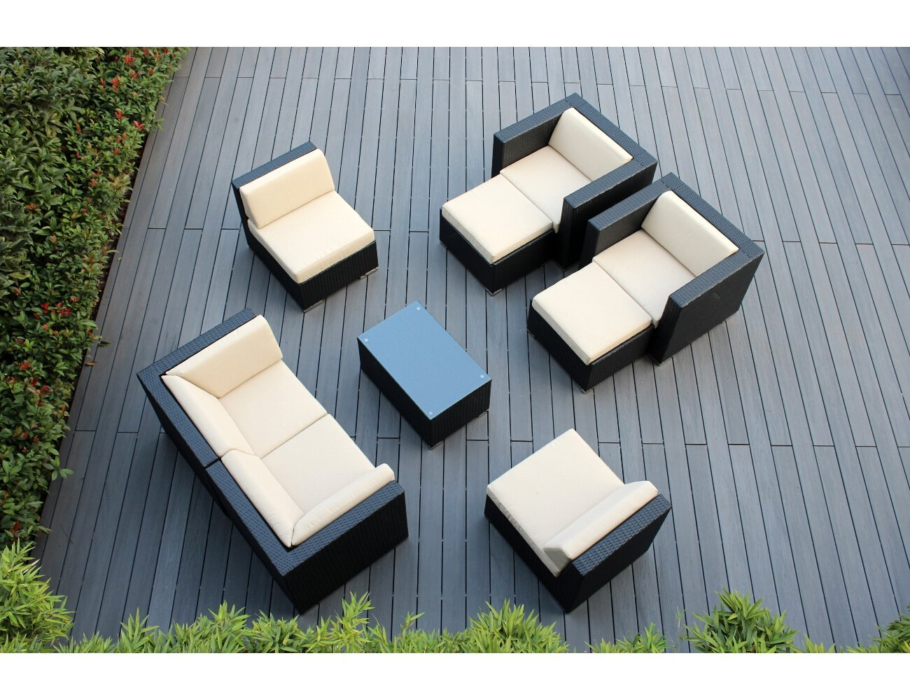 Genuine Ohana 9 Piece Outdoor Wicker Patio Furniture Sectional