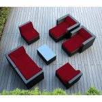 Ohana 9-Piece Outdoor Wicker Patio Furniture Sectional Conversation Set with Weather Resistant Cushions