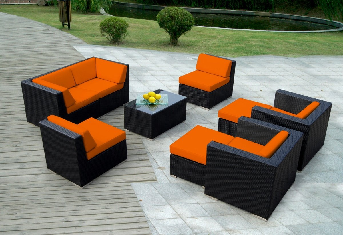 Genuine ohana 9 piece outdoor wicker patio furniture sectional conversation set with weather - Best furniture ...
